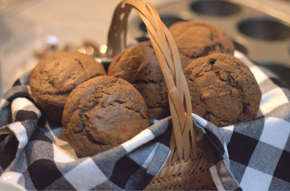 cappuccino muffins with chocolate chips in basket