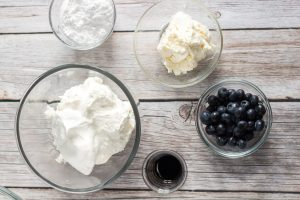ingredients for cream filling for blueberry biscuits
