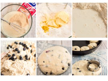 collage of making blueberry biscuits