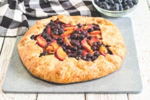 finished peach blueberry galette
