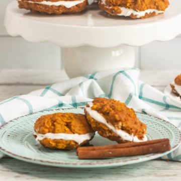 pumpkin whoopie pies on cake platter