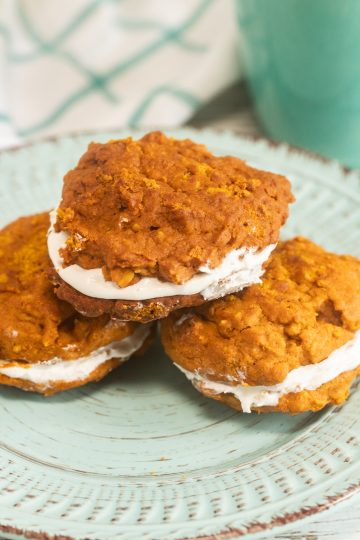 Pumpkin Oatmeal Whoopie Pies on Aqua Plate