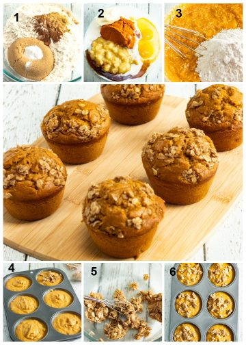 prep process collage for banana pumpkin muffins
