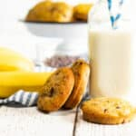 banana muffin tops with a bottle of milk