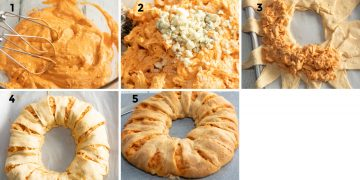 collage of making buffalo chicken ring