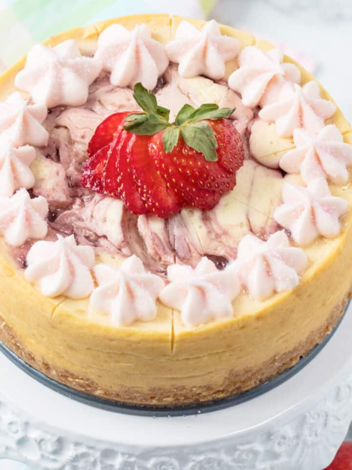 strawberry cheesecake on platter
