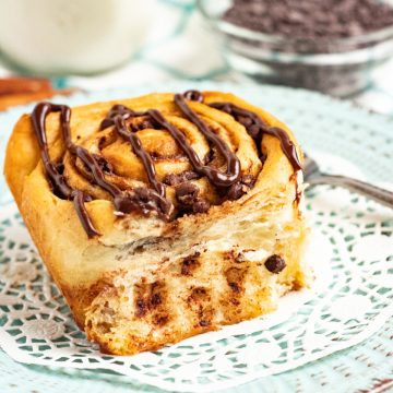 chocolate chip cinnamon roll on dish