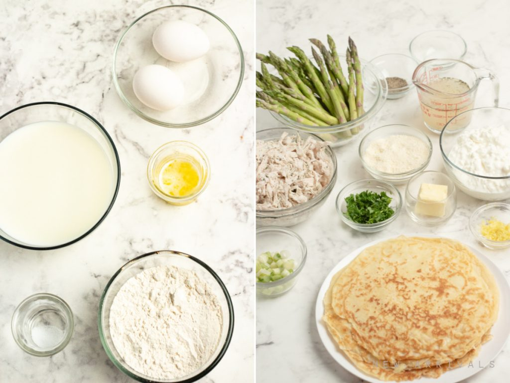 ingredients for chicken crepes with asparagus