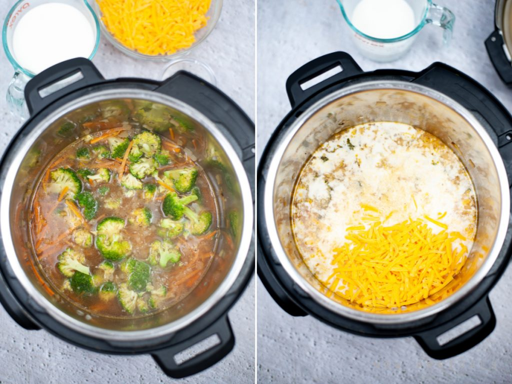 process of making broccoli cheddar soup