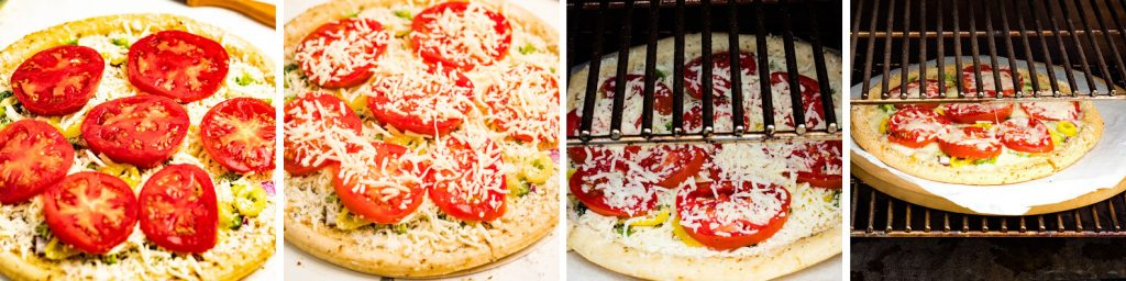 pizza with tomatoes put on grill