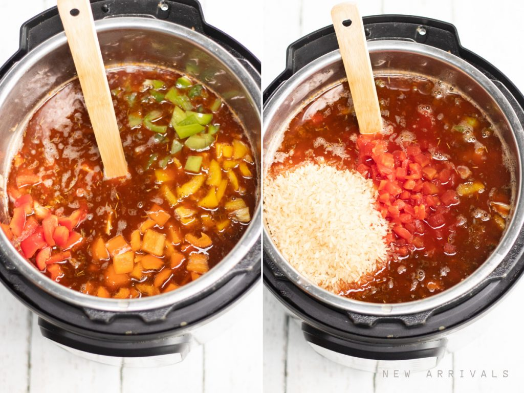 adding vegetables and rice to the stuffed pepper soup