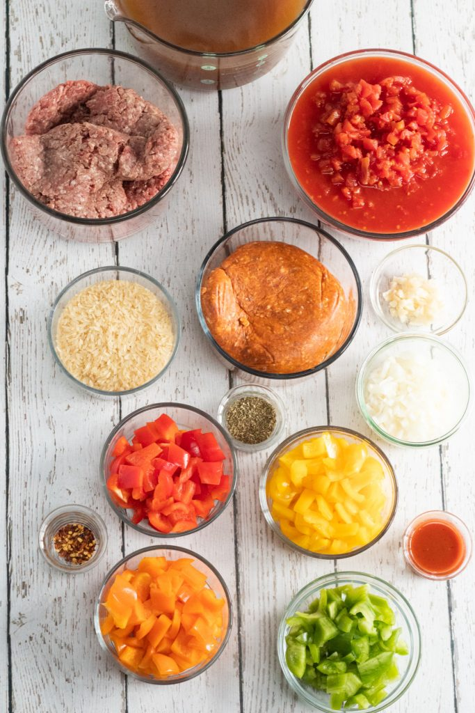 ingredients for stuffed pepper soup in the instant pot