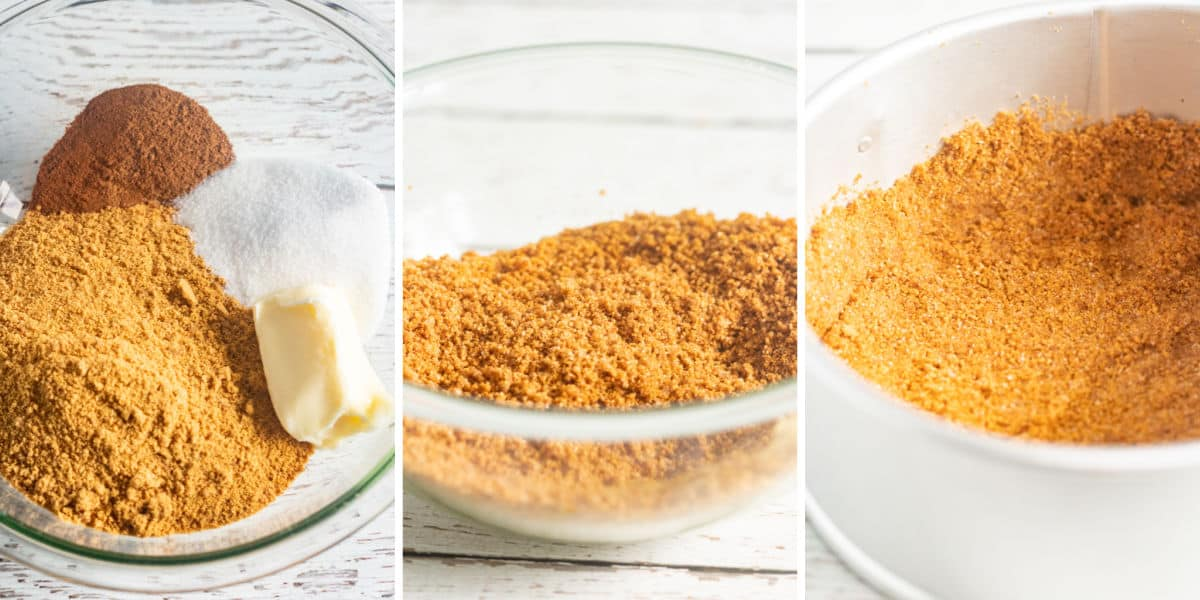 collage of making cheesecake crust