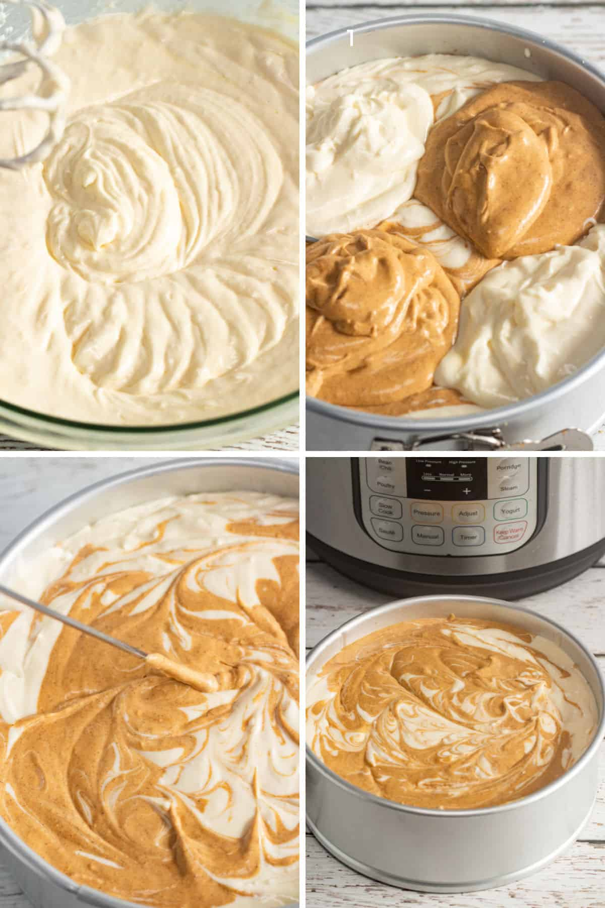 collage of maple pumpkin cheesecake filling